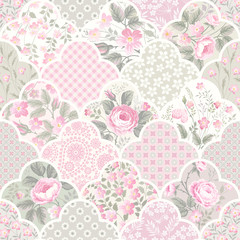 seamless floral patchwork pattern with roses in pastel colors