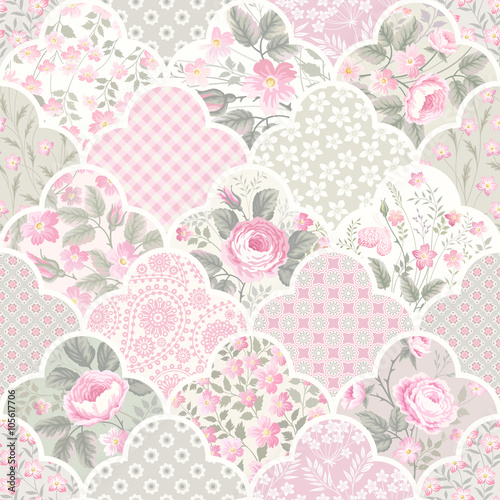 seamless floral patchwork pattern with roses in pastel colors - 105617706