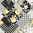 seamless patchwork floral pattern with yellow roses