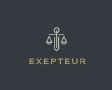 Law firm line trend logo icon vector design. Universal legal, lawyer, scales sword column idea creative premium symbol.