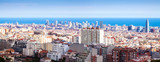 Fototapeta  panoramic view of Barcelona in sunny day
