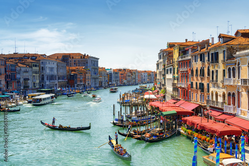 Beautiful view of the Grand Canal from the Rialto Bridge. Venice Poster