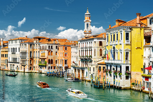 The Grand Canal and colorful facades of medieval houses, Venice Poster