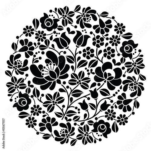 Fototapeta Kalocsai folk art embroidery - black Hungarian round floral folk pattern