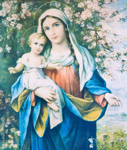 Naklejka Madonna with the child in the flowers.