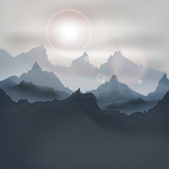 Mountain Landscape at Sunrise. Vector Background with Mountains in the fog