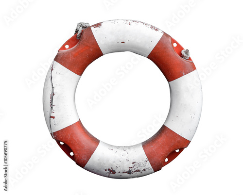 Fotobehang Schip Isolated Rustic Lifebuoy Or Life Preserver