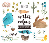 Fototapety Easter Elements Watercolor Vector Objects