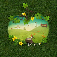 Greeting card with spring green background with silhouette of pumpkin and  stump and Robin