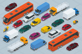 Fototapety Car icons. Flat 3d isometric high quality city transport car icon set. Car, van, cargo truck,  off-road, bus, scooter, motorbike, riders. Transport set. Set of urban public and freight transport