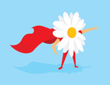 Flower power super hero with cape
