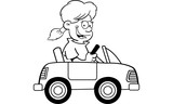 Black and white illustration of a girl driving a toy car.