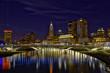 Vibrant skyline of Columbus, Ohio with the Main Street Bridge