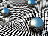 Metallic Spheres On Checker Surface. Abstract Background