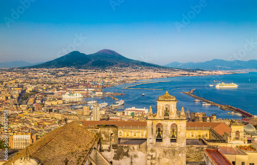 Spoed canvasdoek 2cm dik Napels City of Naples with Mt. Vesuv at sunset, Campania, Italy