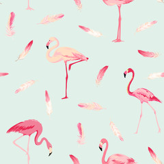 Flamingo Bird Background. Flamingo Feather Background. Retro Seamless Pattern