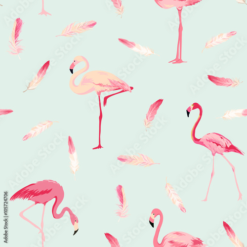 Flamingo Bird Background. Flamingo Feather Background. Retro Seamless Pattern - 105724706