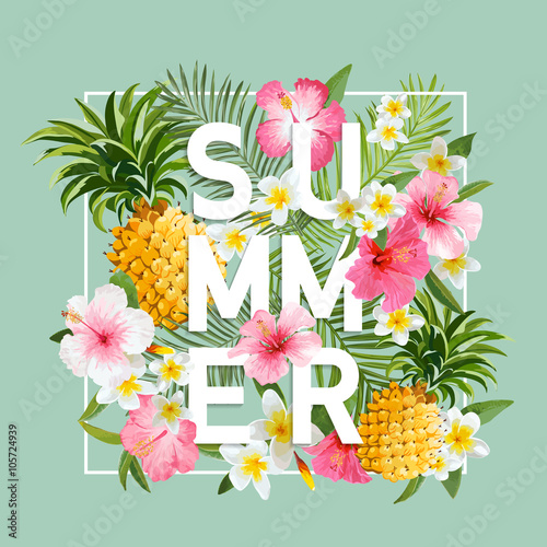 Tropical Flowers and Leaves Background. Summer Design. Vector. T-shirt Design