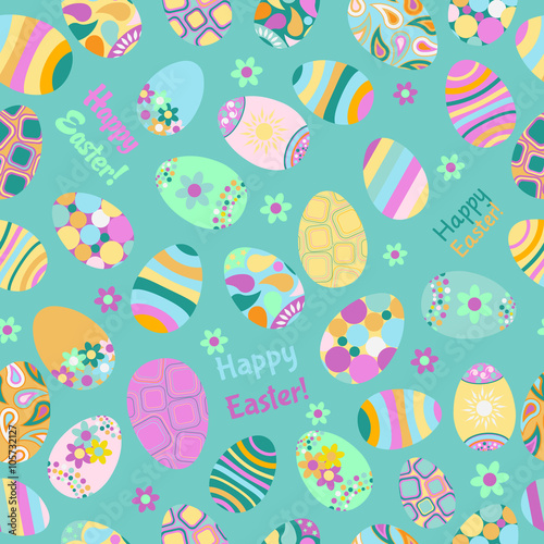 Cotton fabric Seamless multicolored pattern of Easter eggs