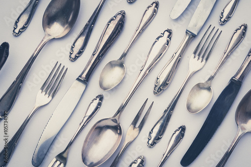 beautiful old silver cutlery - vintage style filter Poster