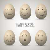 Easter eggs with hand drawn faces