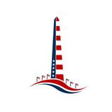Washington monument stars and stripes.Concept of commemoration, DC landmark, patriotism. Vector graphic design - 105738751