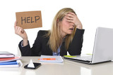Fototapety young beautiful business woman suffering stress working at office asking for help feeling tired