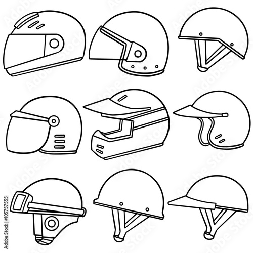Papiers peints Cartoon draw vector set of motorcycle helmet