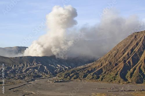 Poster Eruption of mount Bromo in sunrise light in Bromo Tengger Semeru National Park,