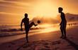Quadro Fussballspiel am Strand in Rio bei Sonnenuntergang