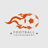 Football  Soccer tournament logo ball on fire