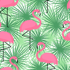 Tropical trendy seamless pattern with flamingos and palm leaves. Exotic Hawaii art background. Design for fabric and decor. Summer fashion print. Pink flamingo illustration.