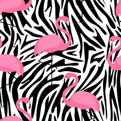 Tropical trendy seamless pattern with flamingos and zebra print. Exotic Hawaii art background. Design for fabric and decor. Summer fashion print. Pink flamingo illustration. Animal skin zebra stripes.