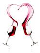 Quadro Two Glasses of Red Wine real Heart Splash