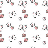 black white pink daisy flowers and butterflies seamless vector pattern background illustration