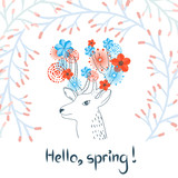 Sketchy deer with watercolor flowers. Spring vector illustration.