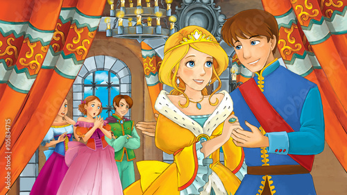 fototapeta na ścianę Cartoon happy royal couple in the castle - illustration for children
