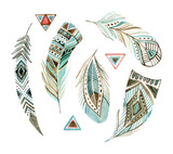 Fototapety watercolor tribal feather set