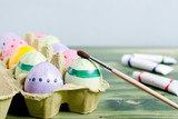 Easter eggs and paint brush