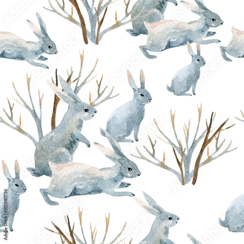 Rabbit in winter. Watercolor seamless pattern - 105840736