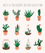 ������, ������: Cacti and succulents vector collection 