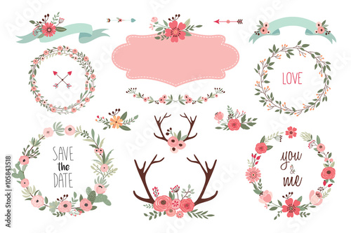 Save the date elements Collection of wedding items with floral wreaths, bouquets and antlers