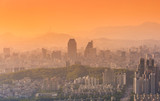 Seoul city and Downtown skyline in Misty day