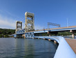 Houghton, Michigan drawbridge across river - landscape color photo