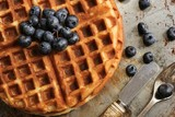 Waffle Breakfast with blueberries