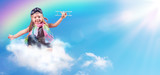 Full-Color Adventure - Child Flying On The Cloud With Airplane And Rainbow