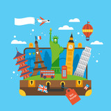 Fototapety Travel around the world concept with landmark icons inside suitc