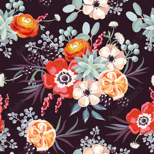 Cotton fabric Bouquet with blackberries and succulents on the black background. Vector seamless pattern with flowers.