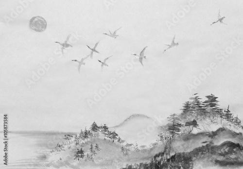 Fototapeta migration of ducks in south