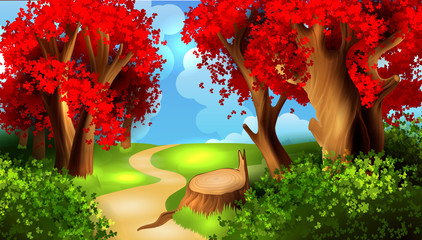 Magic cartoon landscape